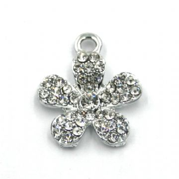 12mm x 21mm Flower charm set with crystal